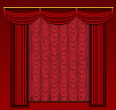 Stage curtains with ornate backdrop and wall. Royalty Free Stock Photos