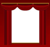 Stage curtains with ornate backdrop and wall. Royalty Free Stock Image