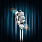 Stage curtains with shining microphone vector illustration Stock Images