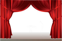 Stage curtains with table. Stock Image