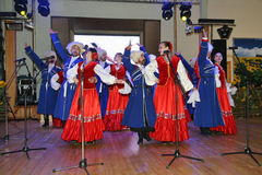 On stage are dancers and singers, actors, chorus members, dancers of the corps de ballet and soloists of the Cossack ensemble Royalty Free Stock Photos