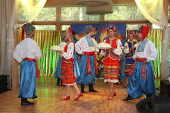 оn stage are dancers and singers, actors, chorus members, dancers of corps de ballet, soloists of the Ukrainian Cossack ensemble Royalty Free Stock Image