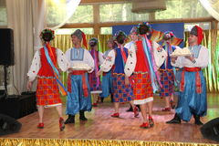 оn stage are dancers and singers, actors, chorus members, dancers of corps de ballet, soloists of the Ukrainian Cossack ensemble Royalty Free Stock Photos