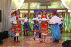 оn stage are dancers and singers, actors, chorus members, dancers of corps de ballet, soloists of the Ukrainian Cossack ensemble Royalty Free Stock Images