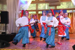 оn stage are dancers and singers, actors, chorus members, dancers of corps de ballet, soloists of the Ukrainian Cossack ensemble Royalty Free Stock Photography
