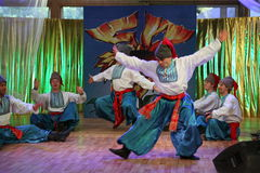 оn stage are dancers and singers, actors, chorus members, dancers of corps de ballet, soloists of the Ukrainian Cossack ensemble Stock Photography