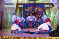 оn stage are dancers and singers, actors, chorus members, dancers of corps de ballet, soloists of the Ukrainian Cossack ensemble Royalty Free Stock Photo