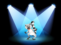 A stage with a dancing lemur Stock Photo
