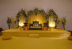 Stage Decoration. Wedding stage decoration . Stage is decorated for mehndi stock photo