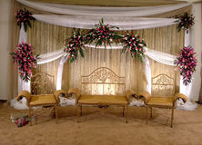 Stage Decoration. Wedding stage decoration. A beautiful reception full of decent lighting and flowers Stock Photos