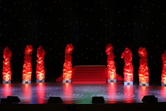 Stage is designed artificial fires and nightly sky Stock Photography