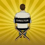Stage director on set pop art vector illustration. Stage director on set pop art retro vector illustration. Comic book style imitation Stock Photo