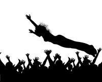 Stage dive. An illustrated silhouette of a concert performer jumping from a stage into the crowd Stock Photo
