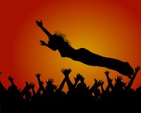 Stage dive. Illustration of a concert with fans and a stage dive Stock Photo