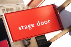Stage door. Close up of a stage door red sign Stock Photography