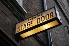 Stage door. Illuminated sign at theatre in London's West End Royalty Free Stock Images
