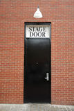 Stage Door. Black stage door with light above Royalty Free Stock Photography