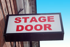 Stage door entrance sunny day. Stage door entrance on a sunny day Royalty Free Stock Images