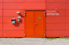 Stage door. Red stage door for artists Royalty Free Stock Image