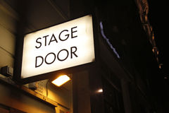 Stage door sign. Illuminated sign at theatre in London's West End (with room for your text Stock Photos
