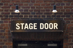Stage door sign. Illuminated sign at theatre in London's West End Stock Photos