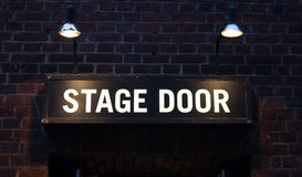 Stage door sign. A lit up stage door sign for a theatre Royalty Free Stock Photography
