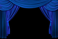 Stage Drape Curtains on Black Background Stock Photo