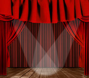 Stage Drapes With 3 Spotlight Royalty Free Stock Images