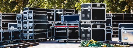 Boxes stage equipment. Stage equipment boxes for outdoor summer concert Stock Photos