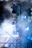 Stage equipment and spotlight system mounted on stage for illumi Royalty Free Stock Photo
