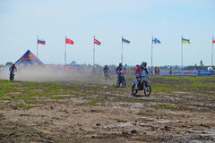 Stage of the European championship in motocross in classes 65, 85 and open. Stock Photos