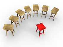 Stage Fright. Row of wooden stools facing a single red stool, conceptualizing stage fright, individualism. High resolution, clean and studio lit soft shadows stock illustration