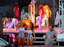 Stage fright concert backstage girls. Pop-folk concert ballerinas on stage and backstage stage fright Planeta Payner chalga concert Bulgaria.Bulgarian pop-folk Stock Images