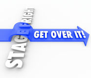 Stage Fright Public Speaking Fear Get Over it Arrow Words. Get Over It words on a blue 3d arrow jumping over the words Stage Fright to illustrate conquering or vector illustration