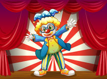 A stage with a funny clown. Illustration of a stage with a funny clown Stock Image