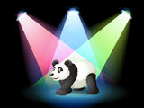 A stage with a giant panda Royalty Free Stock Photos