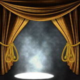 Stage with gold curatins and spotlights Royalty Free Stock Photography