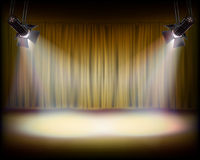 The Stage with golden curtain. Vector illustration. Stock Photos