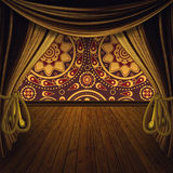 Stage with golden curtains Royalty Free Stock Image