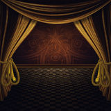 Stage with Golden Curtains Stock Photography