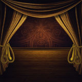 Stage with Golden Curtains Royalty Free Stock Photos