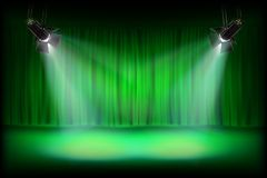 The stage with green curtain. Vector illustration. Theater auditorium with stage curtain. Vector illustration Royalty Free Stock Image