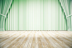 Stage with green curtains Royalty Free Stock Image