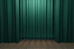 Stage with green scenes and wooden floor Stock Images