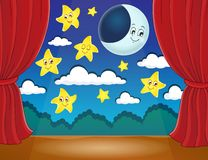 Stage with happy stars and moon Stock Images