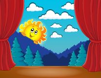 Stage with happy sun 3 Stock Image