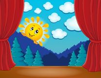 Stage with happy sun 4 Royalty Free Stock Photography