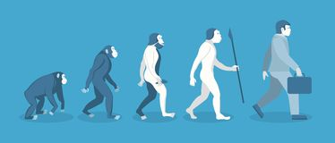 Stage of Human Evolution from Monkey to Businessman. Vector. Cartoon Stage of Human Evolution from Monkey to Businessman Development Concept Flat Design Style Royalty Free Stock Photography