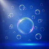 Stage illumination with spotlights and bubbles Stock Photo