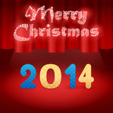 2014 on stage illustration background. 2014 on stage, red background, snow Merry Christmas royalty free illustration